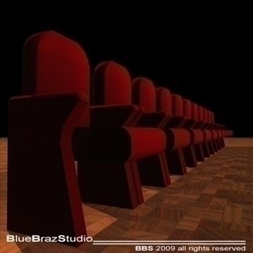 theatre velvet armchairs 3d model 3ds dxf c4d obj 101553