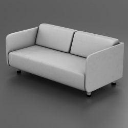 White couch 3d model 3ds max fbx c4d ma mb obj