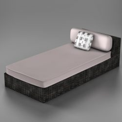 wicker chaise 3d model 0