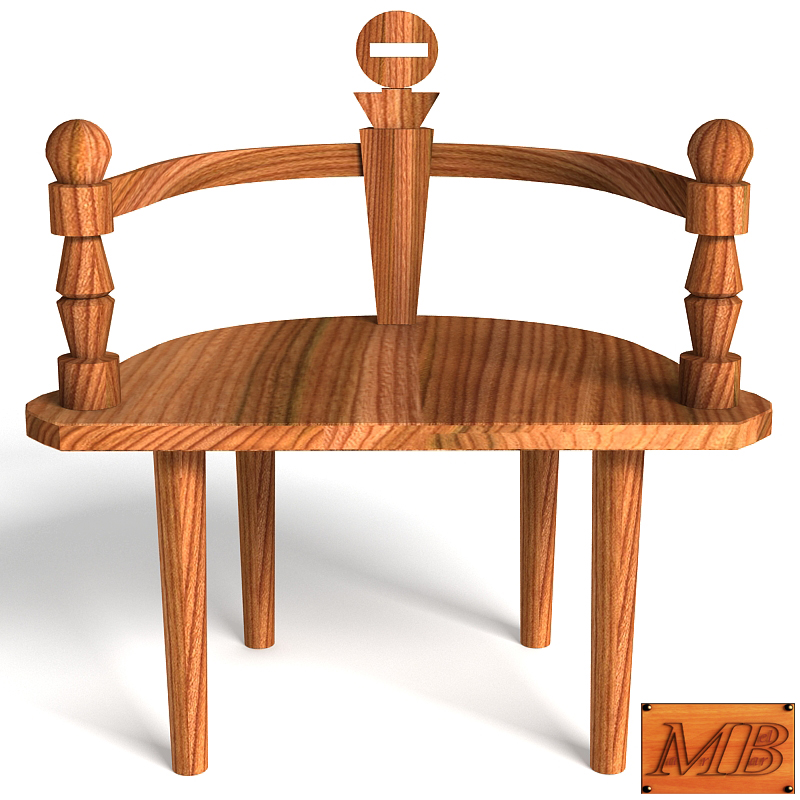 wooden chair bench 3d model max 147818