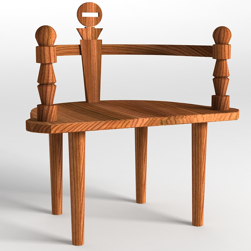 wooden chair bench 3d model max 147820