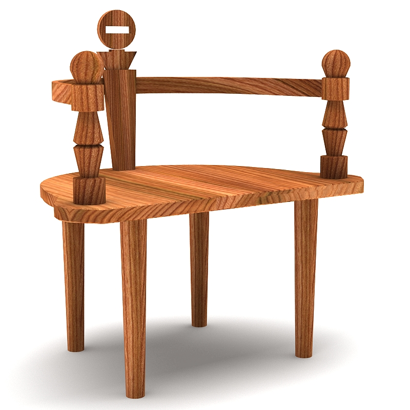 wooden chair bench 3d model max 147821