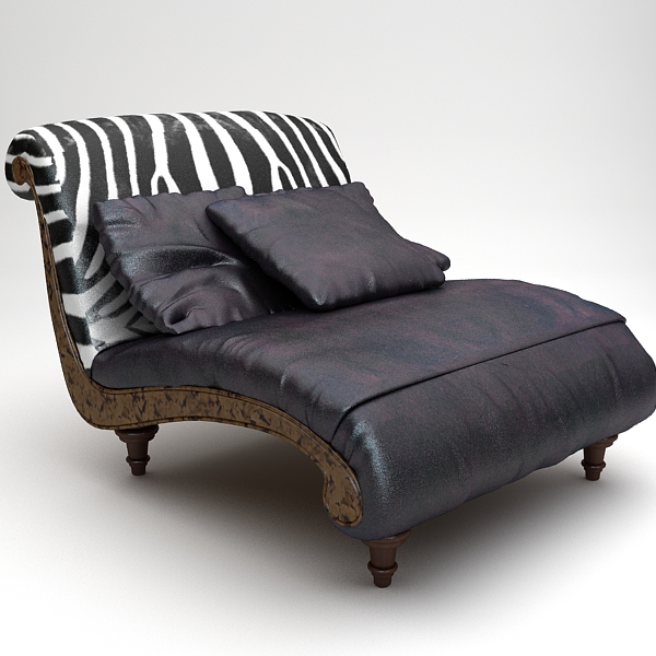 Zebra Settee Lounge Chair Sofa Model S Max Fbx Texture Obj 120863