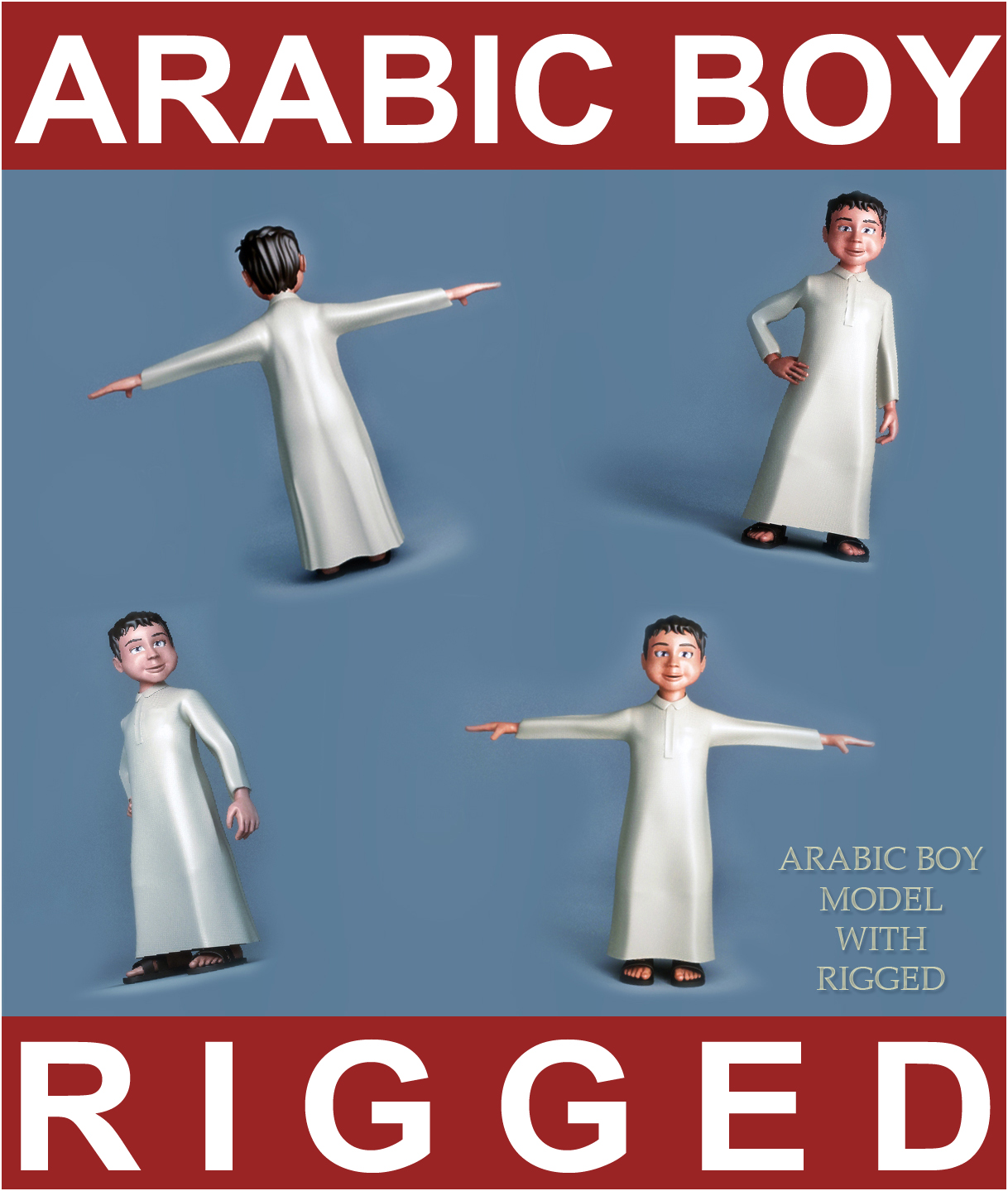 arabic boy 3d model 3ds max fbx obj 116842