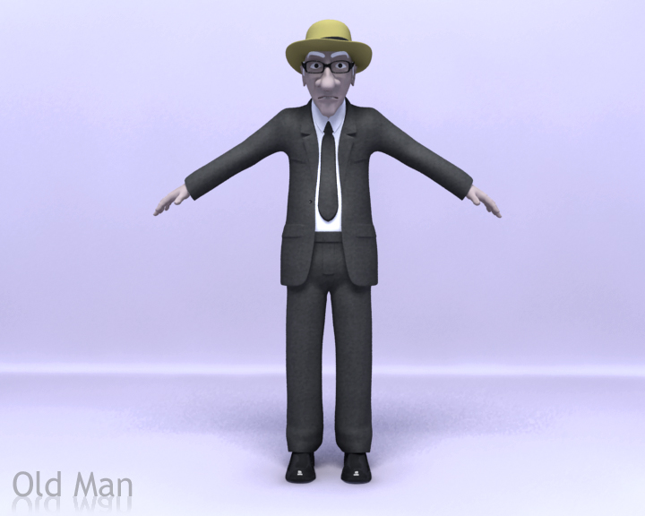 old man 3d model 3ds max obj 115459
