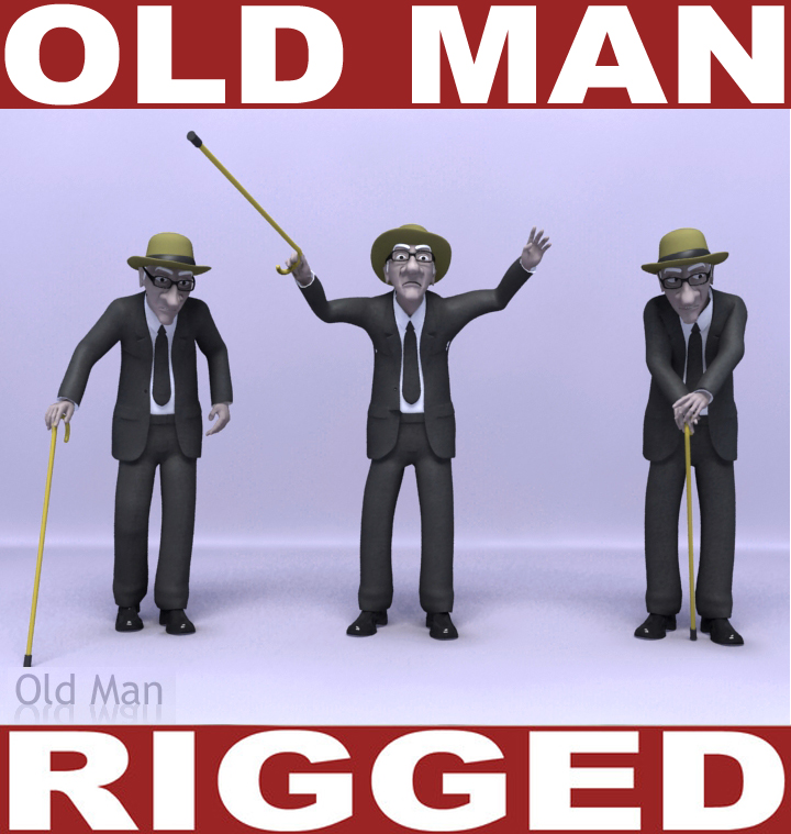 old man rig 3d model 3ds max obj 115484