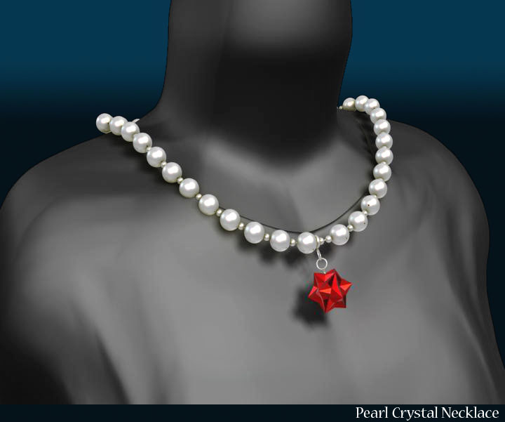 pearl crystal necklace 3d model 3ds max fbx obj 117824