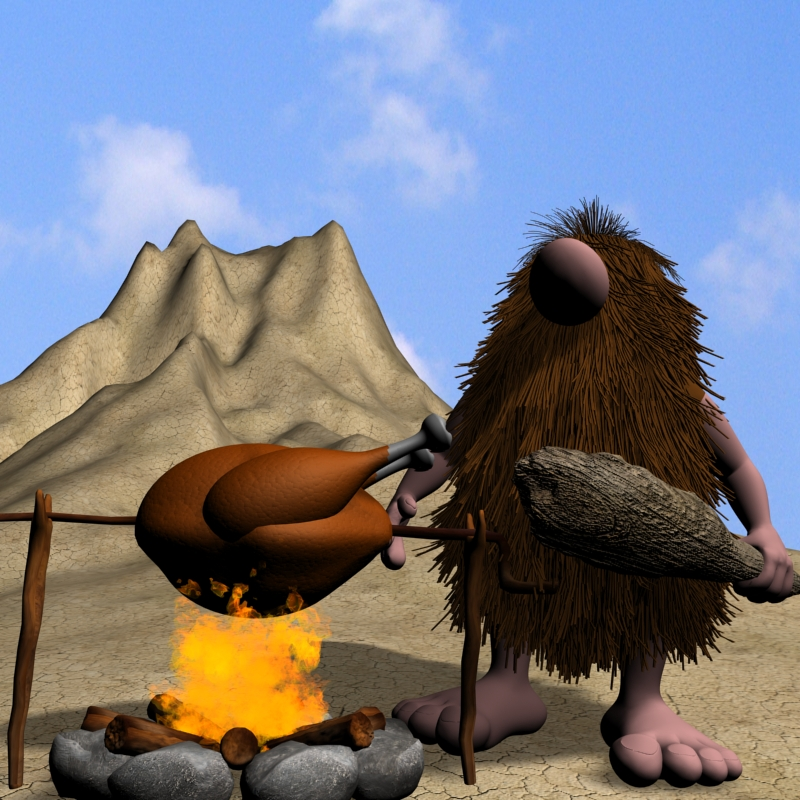cartoon caveman character rigged 3d model max obj 148613