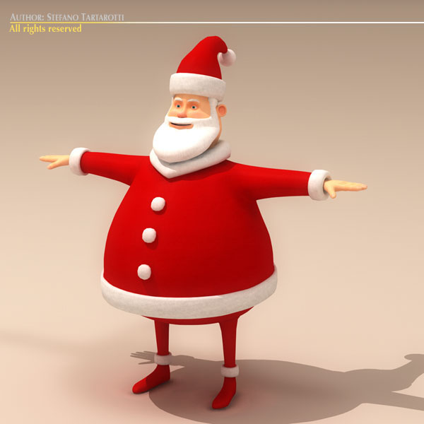 cartoon santa claus 3d model 3ds max dxf fbx c4d dae ma mb obj 121214