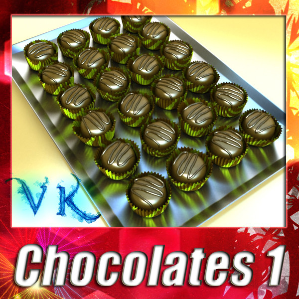 chocolate candy 01 3d model 3ds max fbx obj 132267
