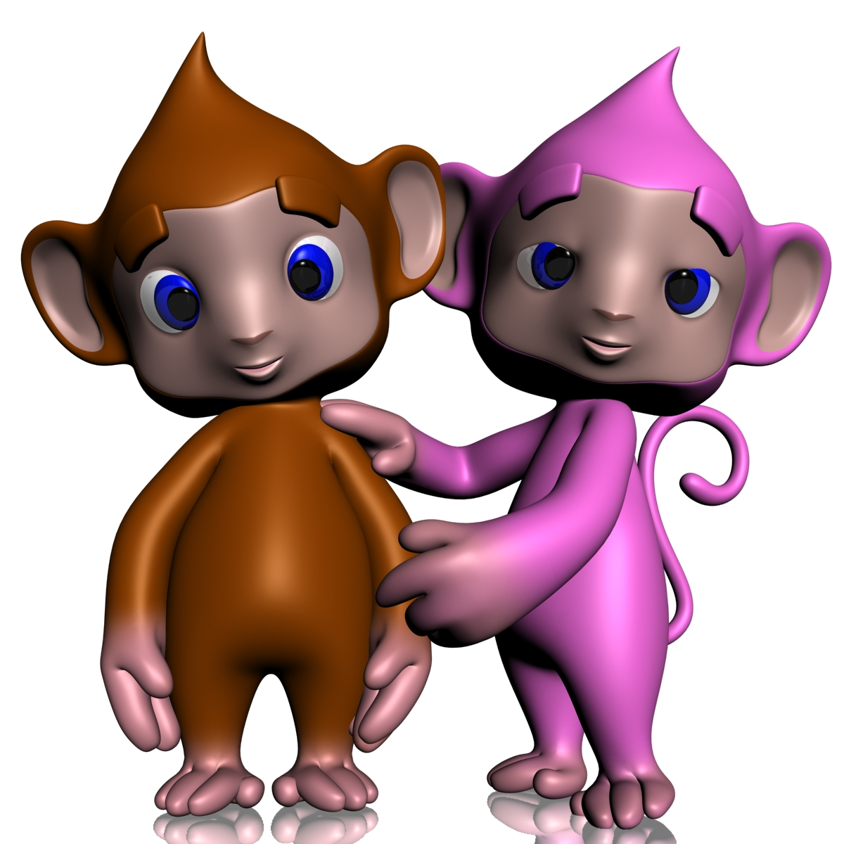 colorful cartoon monkey rigged 3d model 3ds max fbx  obj 164953