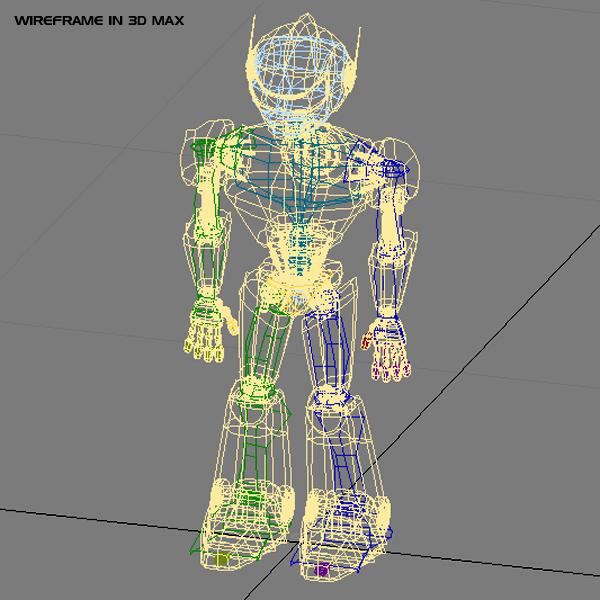 model goncro robot 3d wedi'i rigio 3ds max fbx blend obj XX