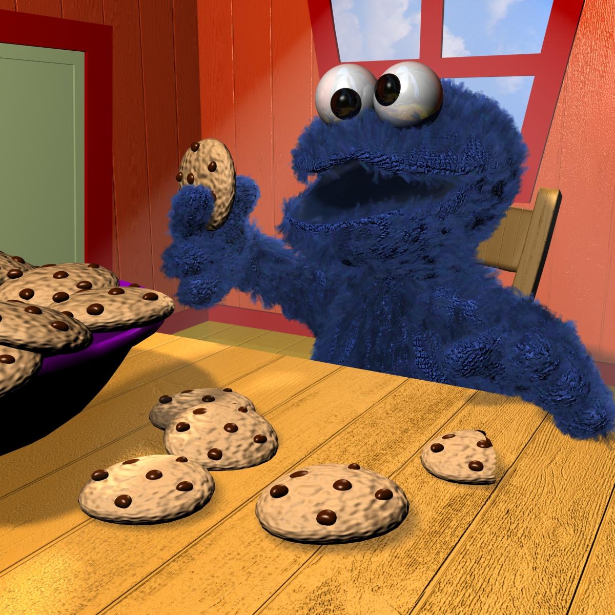 cookie monster rigged 3d model 3ds max fbx obj 158452