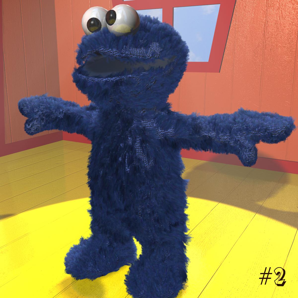 cookie monster rigged 3d model 3ds max fbx obj 158453