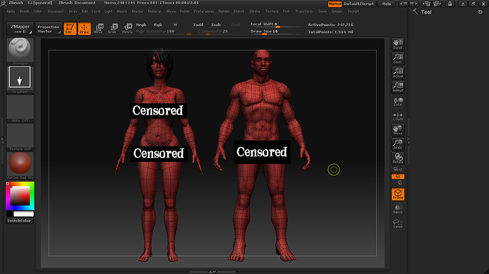 female and male characters 3d model ztl 117184