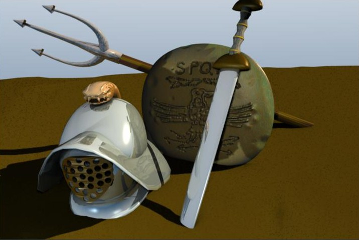 gladiator weapons – helmet sword shield 3d model blend 157800