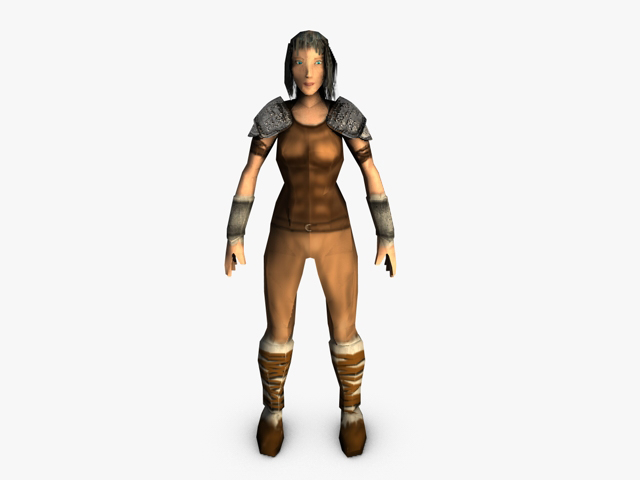 low poly female model warrior 3d model 3ds fbx c4d obj 142432
