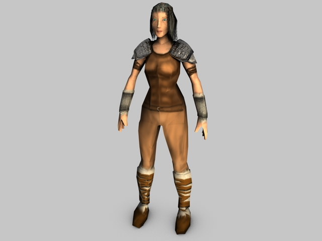 low poly female model warrior 3d model 3ds fbx c4d obj 142434