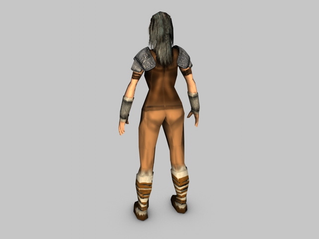 low poly female model warrior 3d model 3ds fbx c4d obj 142437