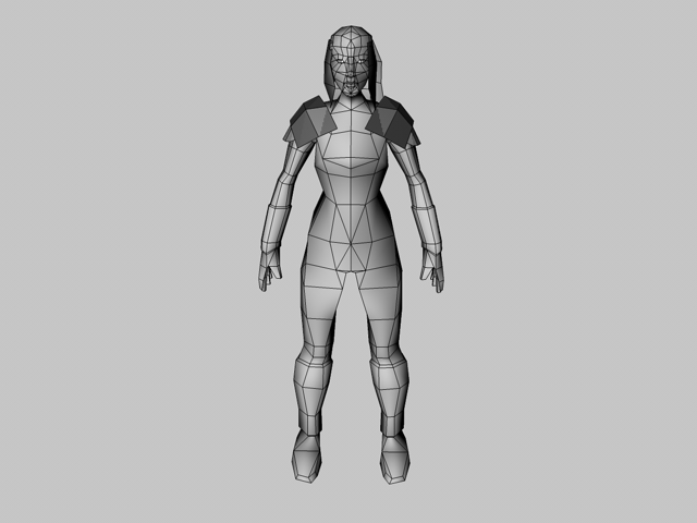 Low poly female model warrior