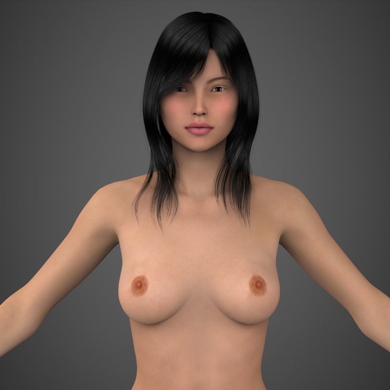 realistic beautiful girl 3d model 3ds max fbx c4d lwo ma mb texture obj 161302