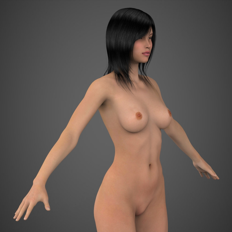 realistic beautiful girl 3d model 3ds max fbx c4d lwo ma mb texture obj 161313