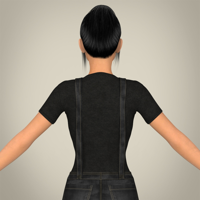 realistic beautiful teen girl 3d model 3ds max fbx c4d lwo ma mb texture obj 164638