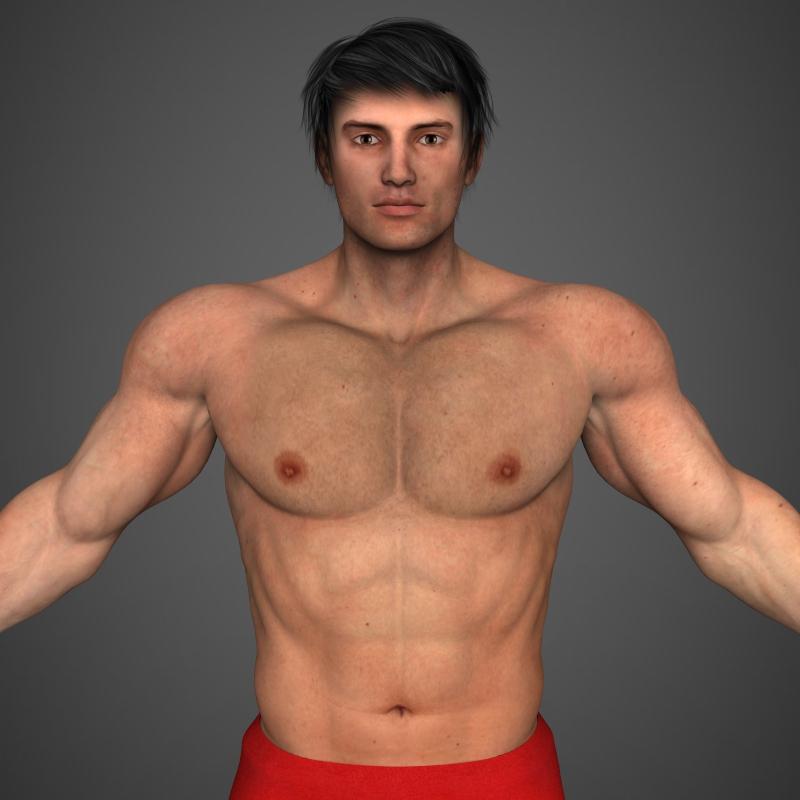 realistic bodybuilder man 3d model 3ds max fbx c4d l3d ma mb texture obj 161338