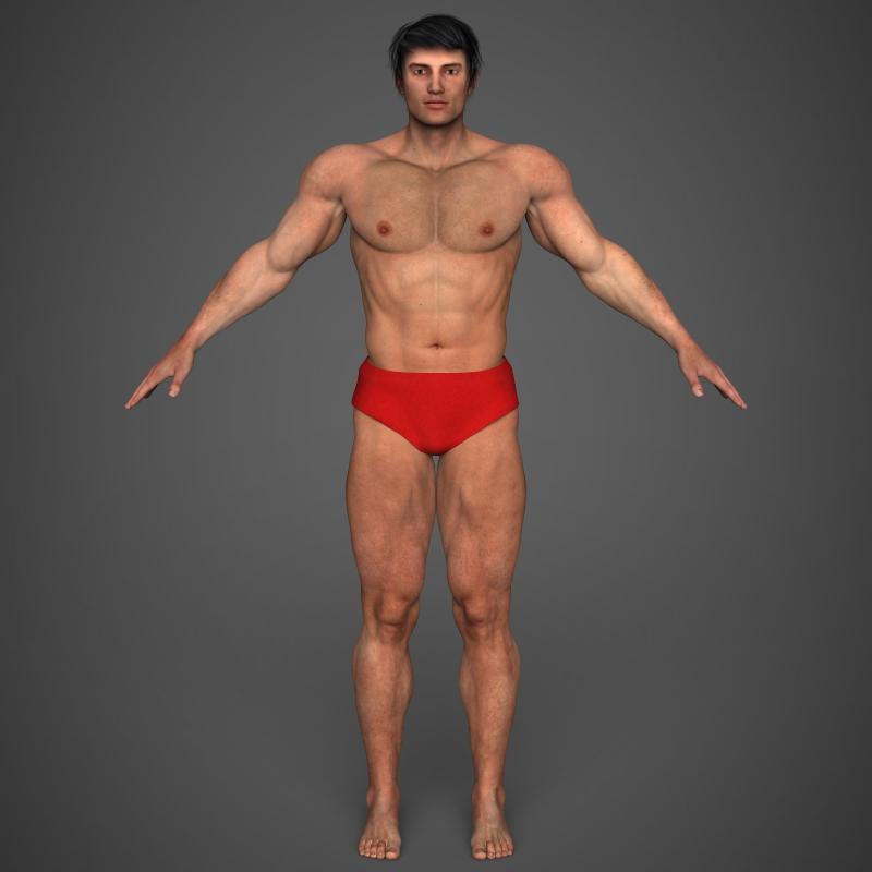 realistic bodybuilder man 3d model 3ds max fbx c4d l3d ma mb texture obj 161339