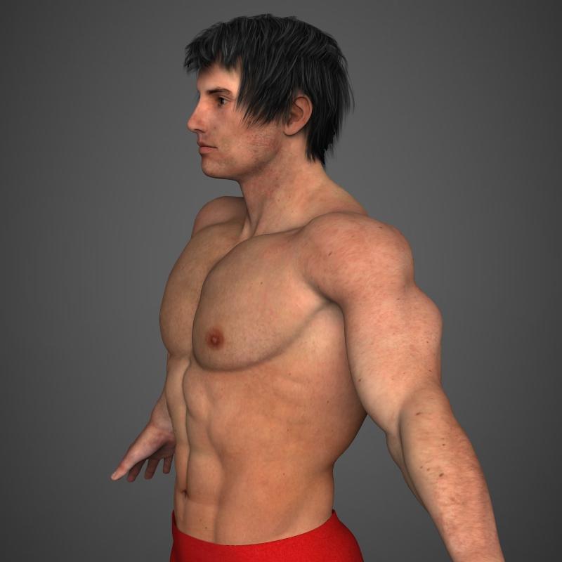 realistic bodybuilder man 3d model 3ds max fbx c4d l3d ma mb texture obj 161340