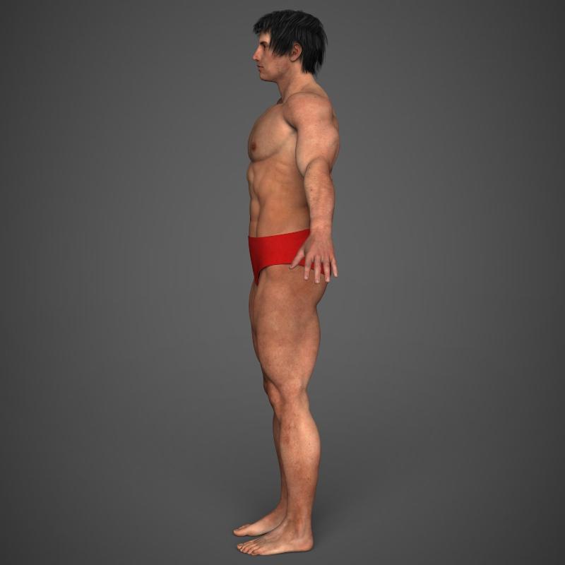 realistic bodybuilder man 3d model 3ds max fbx c4d l3d ma mb texture obj 161345