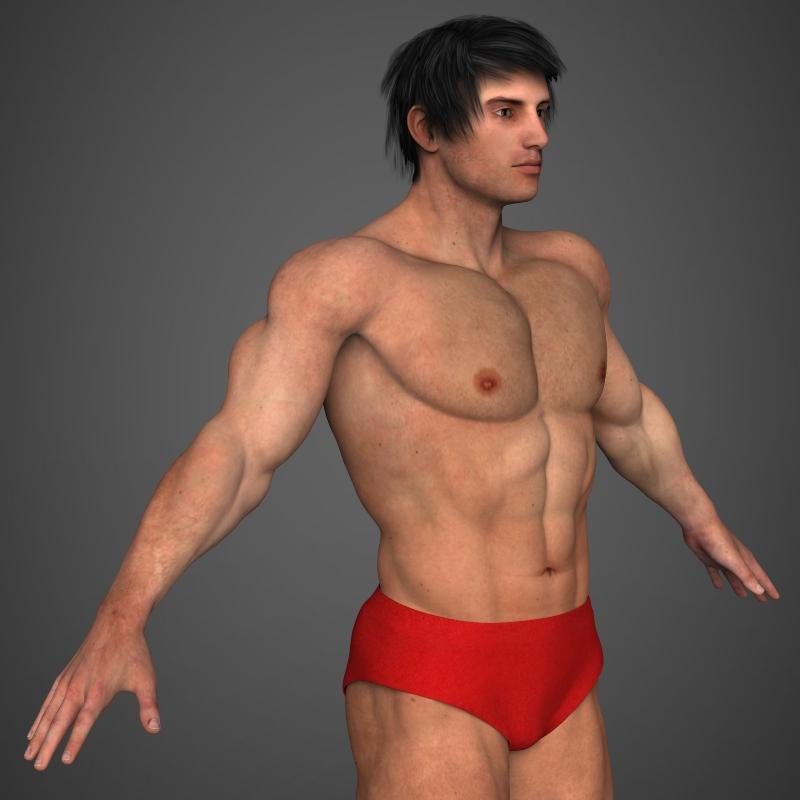 realistic bodybuilder man 3d model 3ds max fbx c4d l3d ma mb texture obj 161349