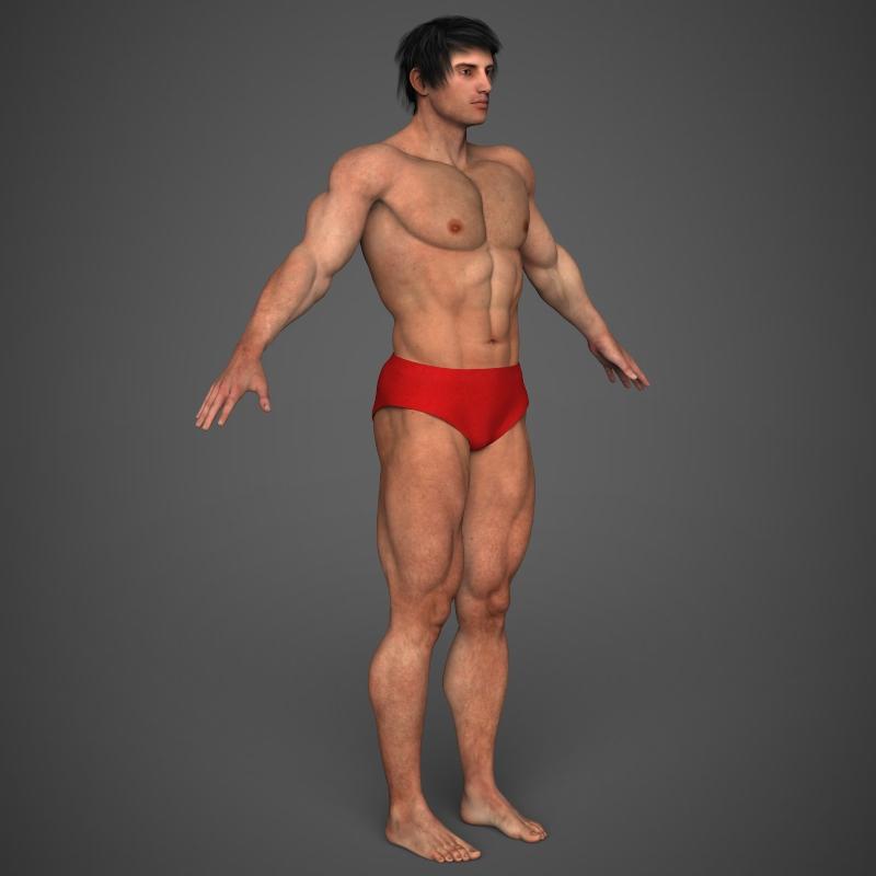 realistic bodybuilder man 3d model 3ds max fbx c4d l3d ma mb texture obj 161350