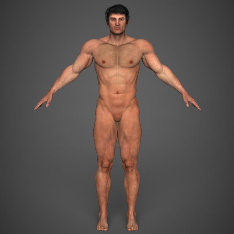 realistic bodybuilder man 3d model 3ds max fbx c4d l3d ma mb texture obj 161352