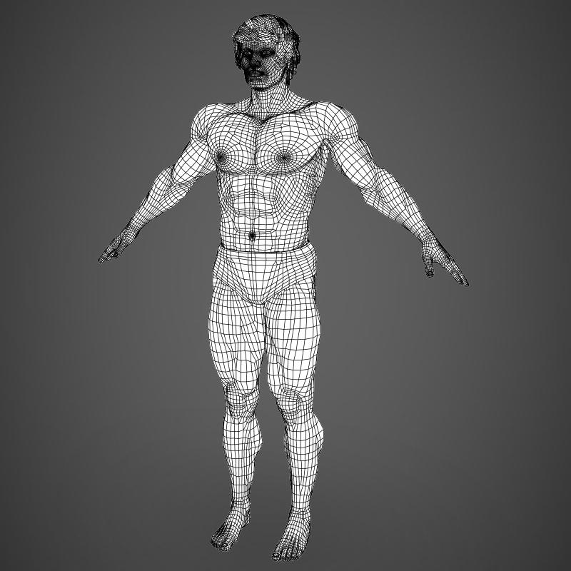 realistic bodybuilder man 3d model 3ds max fbx c4d l3d ma mb texture obj 161355
