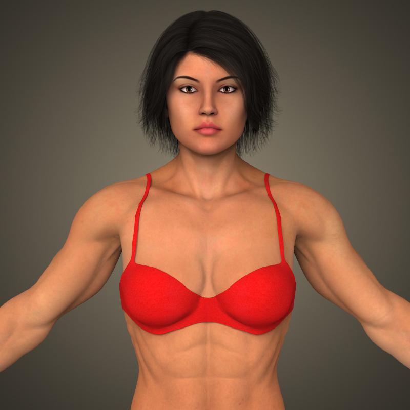 realistic bodybuilder woman 3d model 3ds max fbx c4d lwo ma mb texture obj 161377