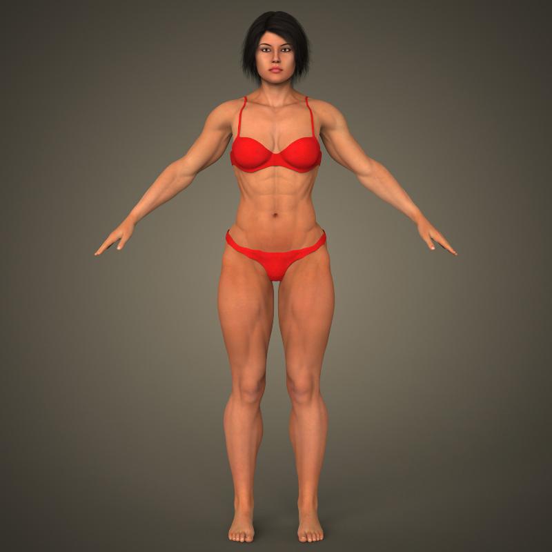 realistic bodybuilder woman 3d model 3ds max fbx c4d lwo ma mb texture obj 161378