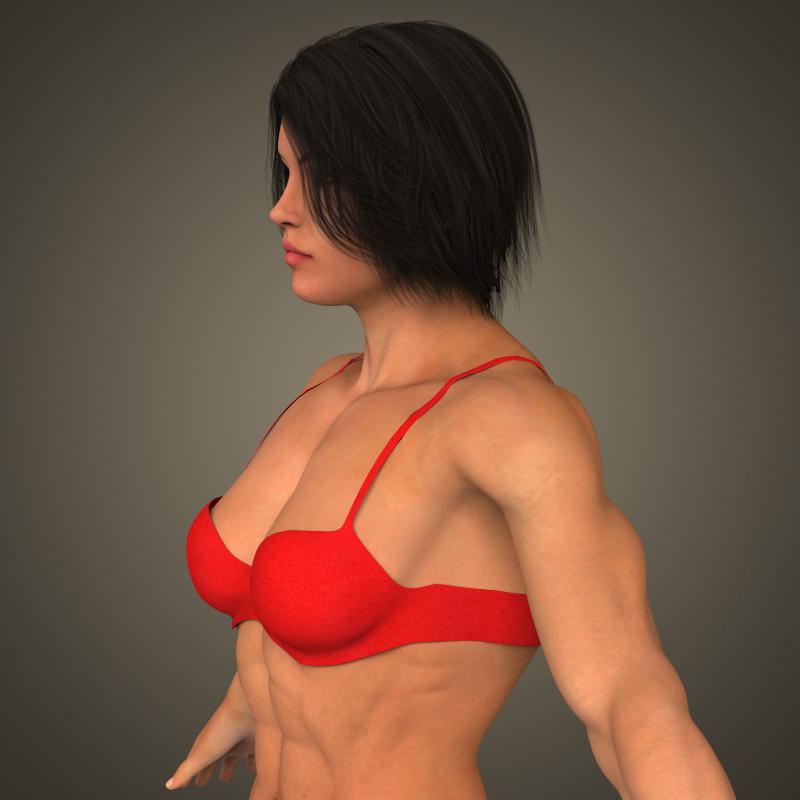 realistic bodybuilder woman 3d model 3ds max fbx c4d lwo ma mb texture obj 161379