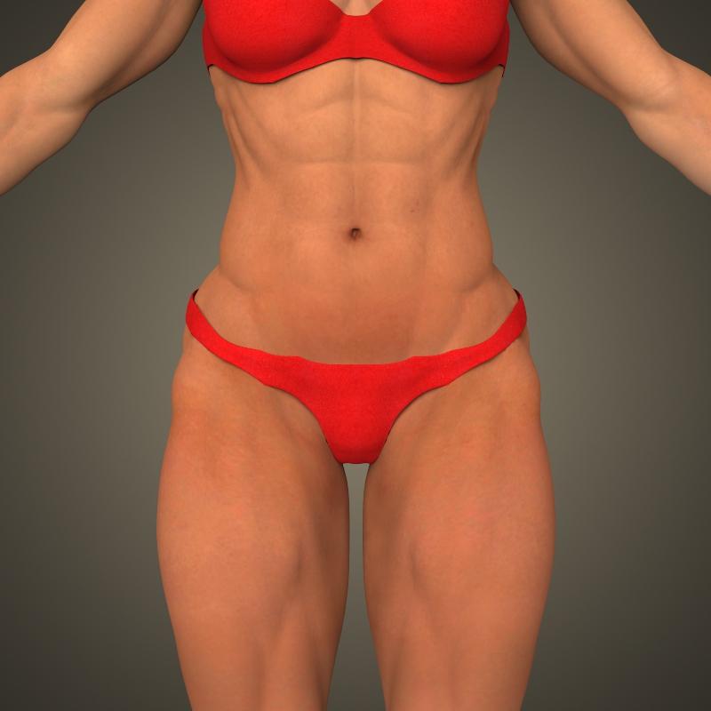 realistic bodybuilder woman 3d model 3ds max fbx c4d lwo ma mb texture obj 161380