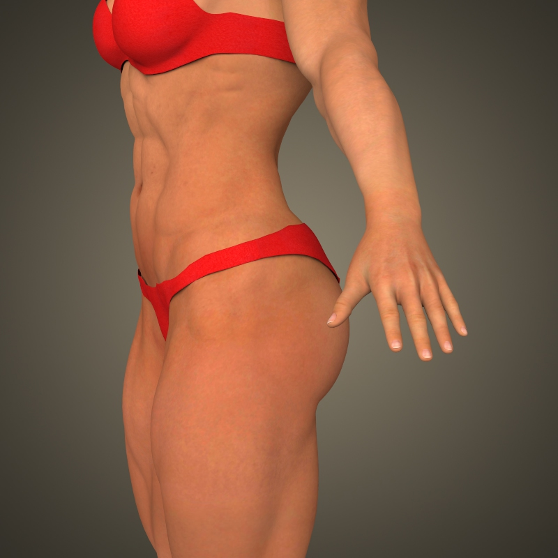 realistic bodybuilder woman 3d model 3ds max fbx c4d lwo ma mb texture obj 161381