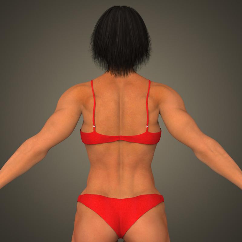 realistic bodybuilder woman 3d model 3ds max fbx c4d lwo ma mb texture obj 161385