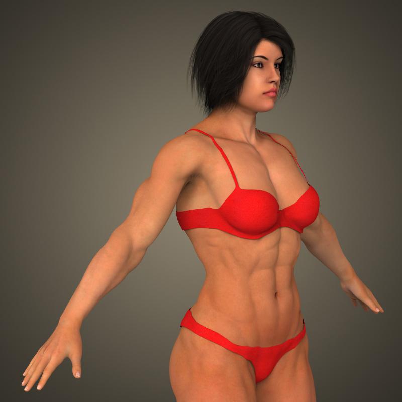 realistic bodybuilder woman 3d model 3ds max fbx c4d lwo ma mb texture obj 161388
