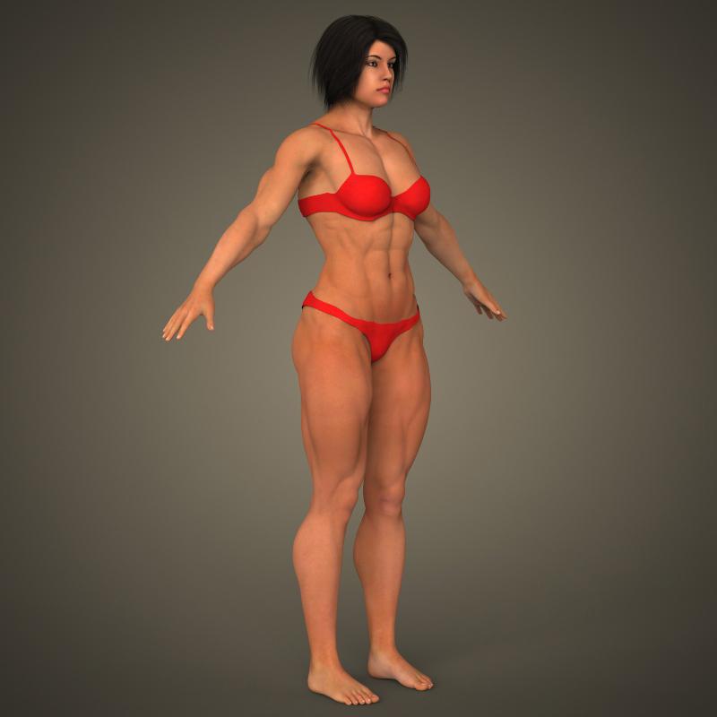 realistic bodybuilder woman 3d model 3ds max fbx c4d lwo ma mb texture obj 161389