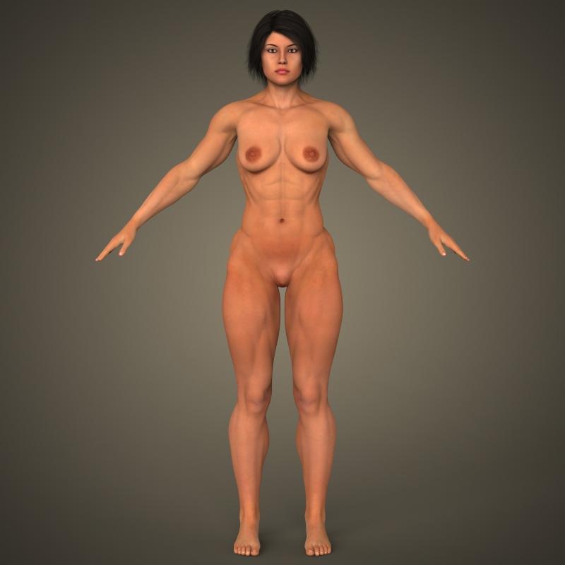 realistic bodybuilder woman 3d model 3ds max fbx c4d lwo ma mb texture obj 161391
