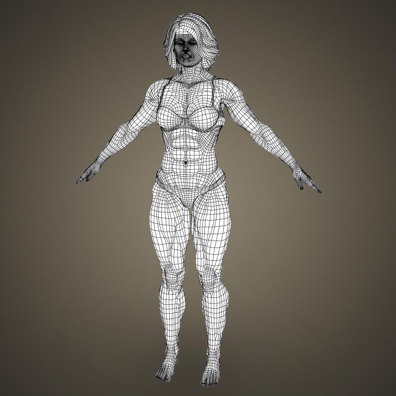 realistic bodybuilder woman 3d model 3ds max fbx c4d lwo ma mb texture obj 161394