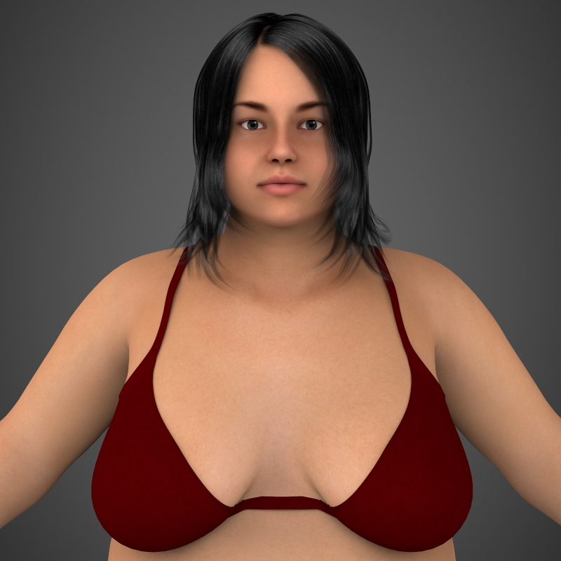 realistic fat woman 3d model 3ds max fbx c4d lwo ma mb texture obj 161395