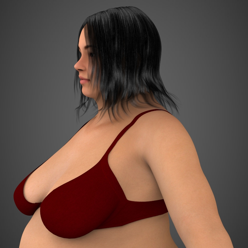 realistic fat woman 3d model 3ds max fbx c4d lwo ma mb texture obj 161397