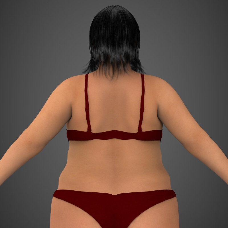 realistic fat woman 3d model 3ds max fbx c4d lwo ma mb texture obj 161404