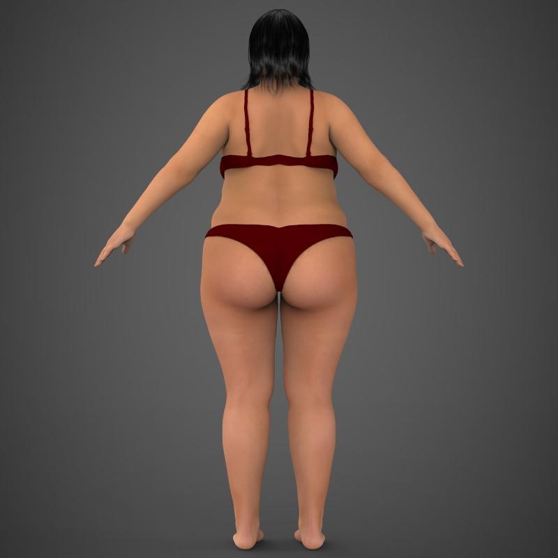 realistic fat woman 3d model 3ds max fbx c4d lwo ma mb texture obj 161406