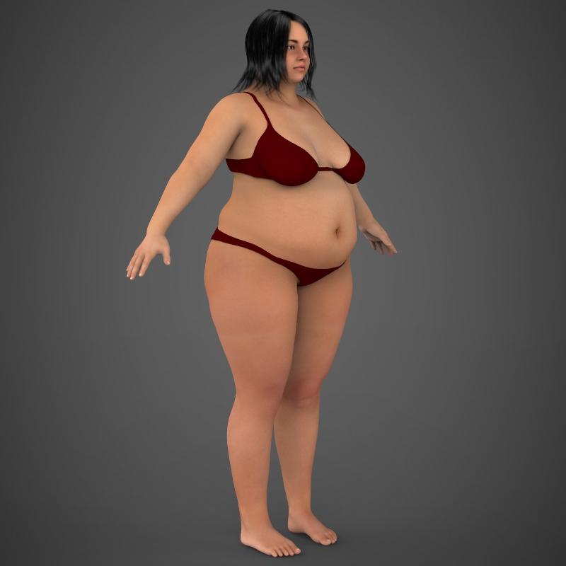 realistic fat woman 3d model 3ds max fbx c4d lwo ma mb texture obj 161407